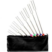 Outdoor Camping Cookware Retractable Colored Wooden Handle Barbecue Fork 8