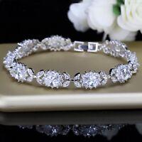15Ct Oval-Cut Brilliant Cut Blue Diamond Tennis Bracelet 18k White Gold Finish