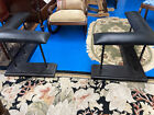 FIREPLACE CLUB FENDER CORNER SEATS Black Leather & Wrought Iron ~ MINT COND