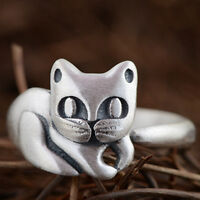 Women's Solid S990 Sterling Thai Pure Silver Ring Cat Adjustable Size 5 6 7 8