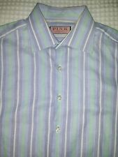 Men's Striped THOMAS PINK Button Down French Cuff Shirt Size 15 1/2 (M)