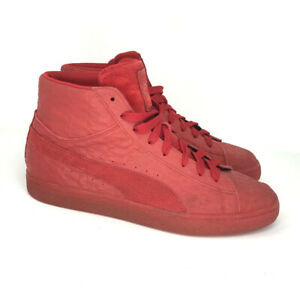 Puma Mens Mid Me Iced 361861 01 Red Suede Sneakers Casual Shoes Lace Up Size 9.5