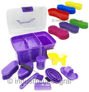 ML Pferde Putzbox für Kinder Lila 8-teilig mit Inhalt Putzkasten +3Pferdebürsten