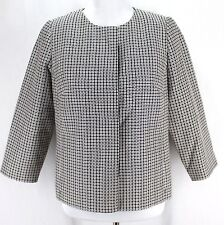 Talbots Blazer Jacket Sz 10P Black White 3/4 Sleeve Lined Polyester Cotton