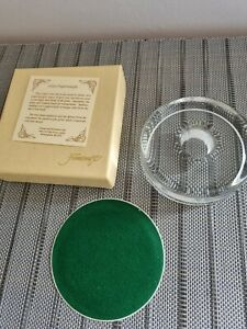 Gift-Boxed Framecraft Glass Round Paper Weight Candle Holder.