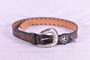 Men's Ariat Floral Embossed Western Leather Belt with Buckle