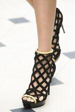 Burberry Black Velour Edenside Platform Ankle Boots Peep Toe 36.5 EU Size 6.5