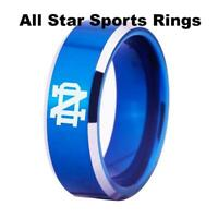 Notre Dame Fighting Irish 8MM Tungsten Ring Blue With Shiny Edges sizes 4-17