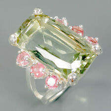 Unique Vintage Natural Green Amethyst 925 Sterling Silver Ring Size 8/R90191
