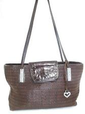BRIGHTON USED BROWN WOVEN/BRAIDED HARD LEATHER SHOULDER BAG/SATCHEL/TOTE
