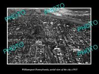 OLD LARGE HISTORIC PHOTO OF WILLIAMSPORT PENNSYLVANIA AERIAL VIEW OF CITY c1935