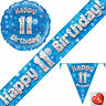 11th Birthday Flag Bunting Balloons Banner Blue Party Decorations Age 11 Boys
