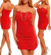 Miss Sexy Donna Bandeau Push Up mini abito party dress glam pietre 34/36/38 ROSSO