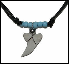 NEW! Genuine Shark Tooth Necklace (Blue) Shark Teeth, Black Cord + Glass Beads