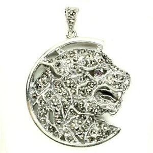 Heated Round Red Ruby 2mm Marcasite 925 Sterling Silver Tiger Pendant
