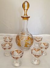 Bohemia Cut Crystal Decanter w/ 7 Cordial Glasses Etched Yellow Flower Design