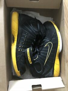 Used NIKE AIR ZOOM HUARACHE 2K4 Kobe Bryant Lakers Black Yellow Men Size 11.5