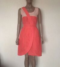 1ac78a1b1aa2 Fendi Coral 100 Silk Dress Size 38 (uk6) Wrap Front Button Back   Pockets