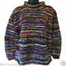 HIPPY BOHO HAND KNITTED BLUE RAINBOW MULTI COLOURED STRIPE JUMPER - FAIR TRADE