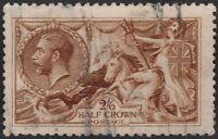 1915 DE LA RUE SEAHORSES SG406 2s6d YELLOW BROWN LIGHT CANCELLATION