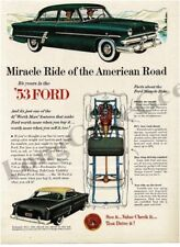 1953 FORD Customline Green 4-door Sedan Miracle Ride art VTG PRINT AD