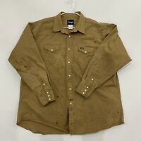 Mens Wrangler Pearl Button Up Long Sleeve Brown 3XLT Dual Pockets Work Stained
