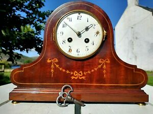 Antique Japy Freres & Cie Inlaid Chiming Mantle Clock for Repair/Restoration