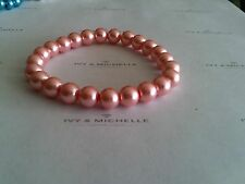 Glass Pearl Bright Pink Beaded Stretch Bracelet
