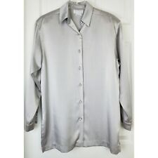 Doncaster size 8 button front blouse silver with shoulders pads