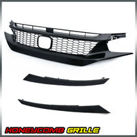 For 2019-2020 Honda Civic Glossy Black Front Upper Hood Honeycomb Grille Guards
