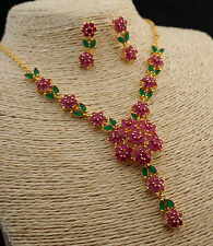 Wedding Jewelry Set of Natural Ruby&Emerald Flower Bridal Accessories Gold