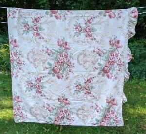 Ralph Lauren Grosvenor Square Floral Ruffled Queen Flat Sheet Beige Pink Sateen