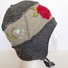 REI Womans Winter Hat One Size Fits Most Wool Blend Gray Floral Details 029471cfb8ce