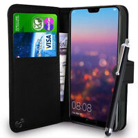 Huawei P20, P20 LITE, P20 PRO Mobile Wallet Case PU Leather Book Cover Black