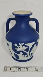 """Lovely Wedgwood Jasper Ware Dark Blue Dipped 6.5"""" Portland Vase"""