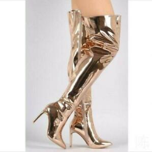 Women's Metallic Mirror Pointy Toe Thigh High Heel Over The Knee Boots Eurpean
