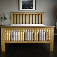 New Beautiful Oak Finish Wooden 4'6ft Double Shaker Bed Frame Kids Adults