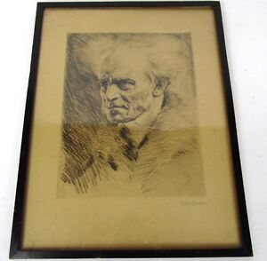 "Antique 18""  Authentic SIGNED 1920 Framed Hans Bauer Pen Sketch Self Portrait"