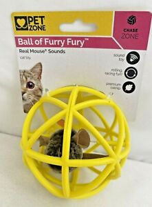 Pet Zone Ball of Furry Fury-Real Mouse Sounds Catnip Cat Toy