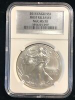 2014 U.S. Silver Eagle $1 Dollar NGC MS70 1 Oz .999 Pure Coin First Releases
