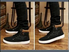 Men's Casual Shoes Black Canvas Comfortable Snickers w/Silver Metal Access 11