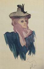 Jacques VILLON (d'après) -  Américaine au Moulin rouge - Croquis signé  #1959