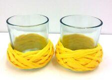 "Votive Candle Holders~Set of 2~Yellow Raffia Braid Trim~3"" Tall"
