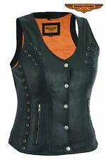 Women's Motorcycle Premium Naked Goat Skin Vest w/ Snap-Up Closure & Pockets