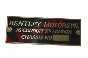 Bentley Motors 1931 Chassis Number Data Plate Brass Vintage Bentley Cars ECs