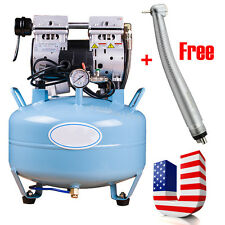 Noiseless Oilless Quiet Medical Dental Air Compressor Unit 30L + Free Handpiece