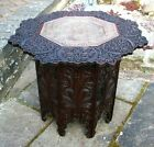 ANTIQUE  INDIAN BURMESE OCTAGONAL  FOLDING SIDE TABLE WITH INSET  COPPER TRAY
