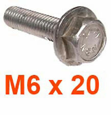 M6 x 20 Stainless Hexagon Flange Bolts - 6mm x 20mm HEX FLANGED Bolts x10