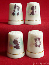 Set of 4 Playful Kitten (Gold Gilded)  Collector Thimbles.