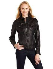 MICHAEL KORS Brown Moto Leather Jacket